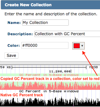 hgCollection name, description and color pop-up editor