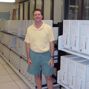 David in front of Dell cluster